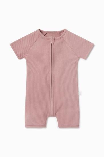 MORI Ribbed Zip-Up Summer Sleepsuit