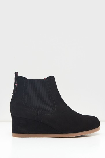 White Stuff Black Issy Suede Wedge Boots