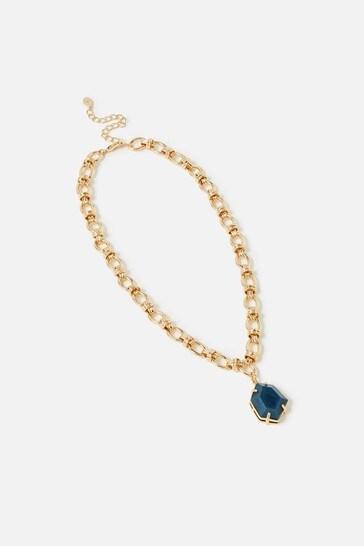 Accessorize Blue Country Retreat Chain Stone Necklace