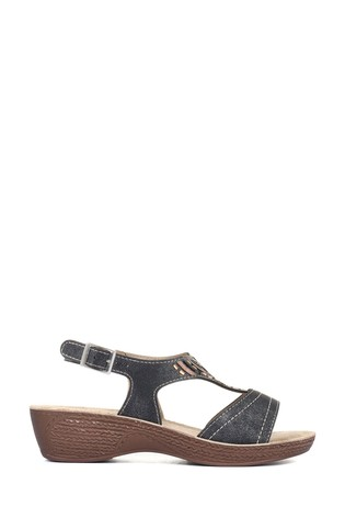 Pavers Ladies Heeled Sandals with Ankle Strap