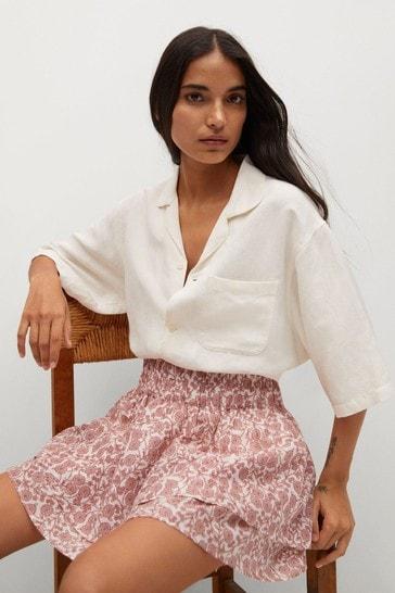 Mango Ruffled Printed Mini Skirt