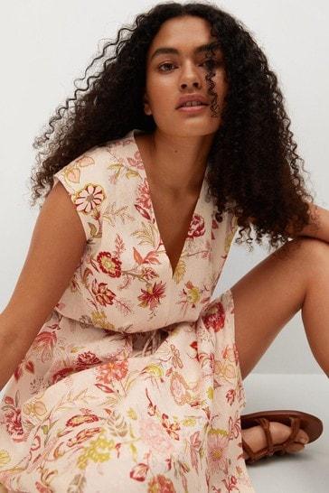 Mango Textured Printed Dress