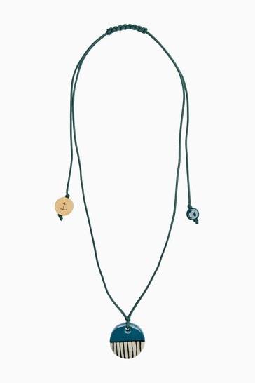 Seasalt Cornwall Teal Slip and Glaze Necklace