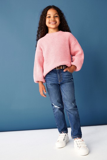 F&F Blue Mom Jeans with Leopard Belt