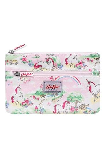 Cath Kidston Kids Pink Double Zip Unicorn Kingdom Pencil Case