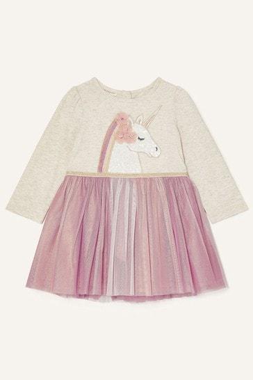 Monsoon  Baby Pink Unicorn Disco Dress