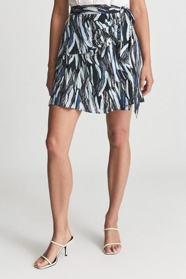 Reiss Black Astrid Printed Mini Skirt
