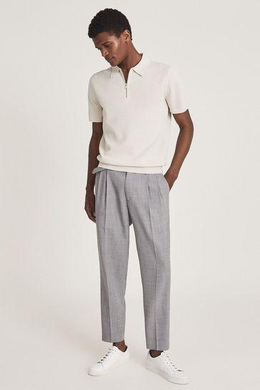 Reiss Cream Albany Textured Zip Neck Polo Shirt