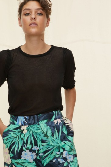 Oliver Bonas Black Shirred Cuff & Hem Black Knitted Top