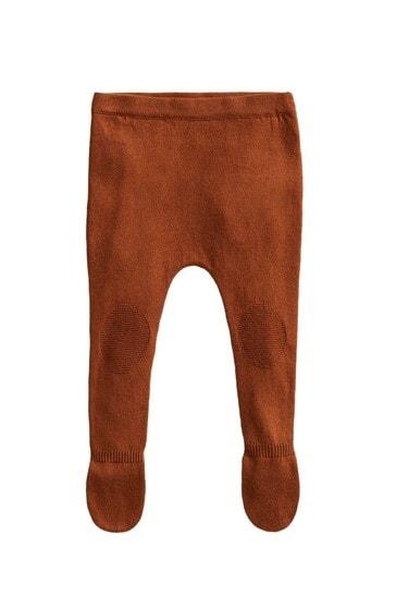 Mango Orange Knit Footed Pants