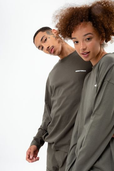 Continu8 Unisex Khaki Long Sleeve T-Shirt
