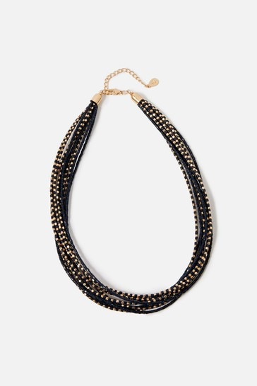 Accessorize Navy Country Retreat Layered Seedbead Necklace