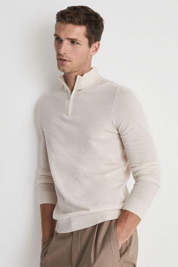 Reiss Cream Blackhall Merino Wool Zip Neck Jumper