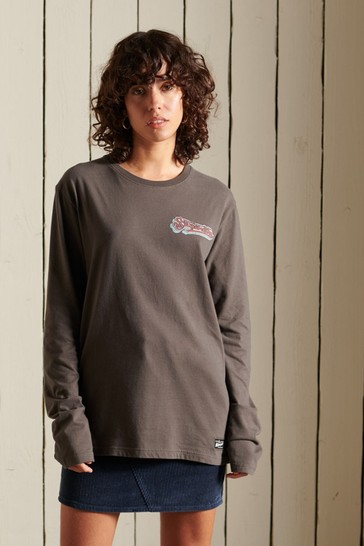 Superdry Brown Loose-Fit Boho Graphic Long-Sleeve T-Shirt