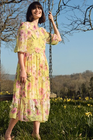 Love & Roses Yellow Large Floral Tiered Midi Smock Dress