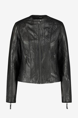 Naf Naf Black Leather Jacket