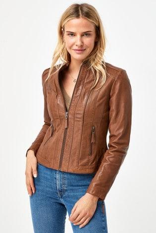 Naf Naf Brown Leather Jacket