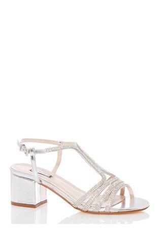 Quiz Silver Diamante Strappy Block Heel Sandal