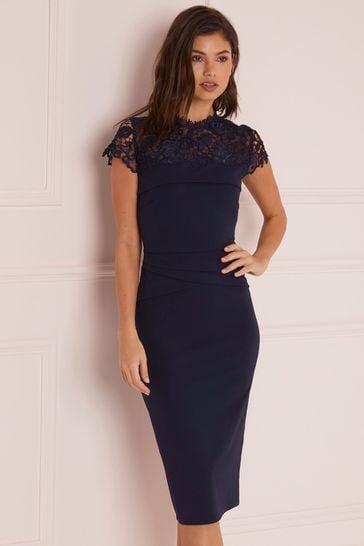Lipsy Navy Lace Pleated Bodycon Dress