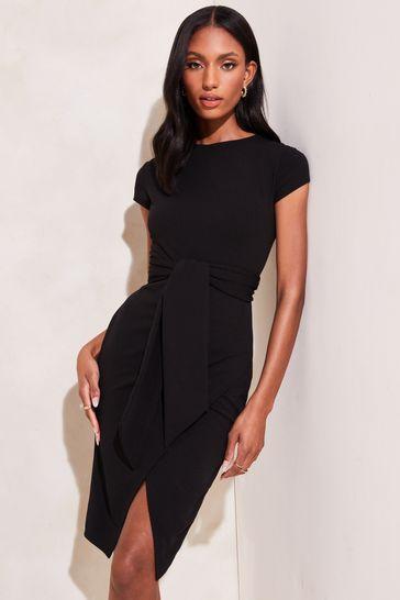Lipsy Black Belted Bodycon Dress