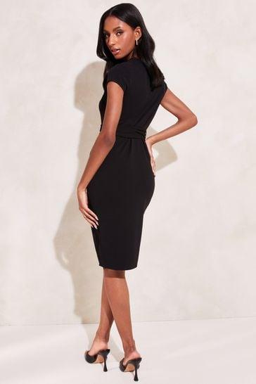 Lipsy Black Wrap Self Tie Midi Dress
