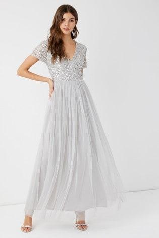 Maya Grey Petite V neck Short Sleeve Sequin Maxi Dress