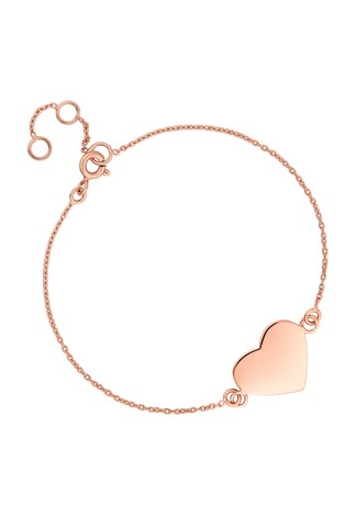 Personalised 14ct Plated Engravable Heart Disc Bracelet by Simply Silver