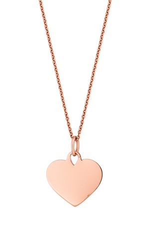 Personalised 14ct Rose Gold Plated Engravable Heart Disc Pendant