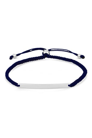 Personalised Sterling Silver Engravable Bar Navy Toggle Bracelet