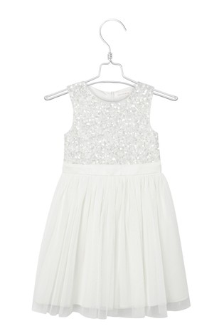 Maya Mini White Delicate Sequin Dress