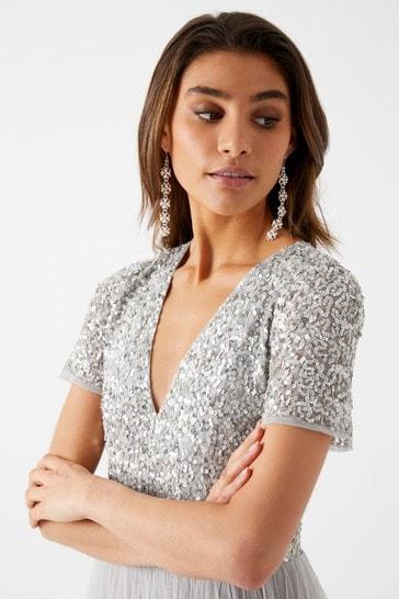 Maya Grey Regular V Neck Short Sleeve Sequin Maxi Dress