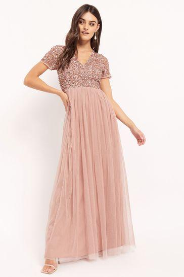 Maya Pink V neck Short Sleeve Sequin Maxi Dress