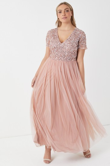 Maya Pink Curve V Neck Short Sleeve Sequin Maxi Dress