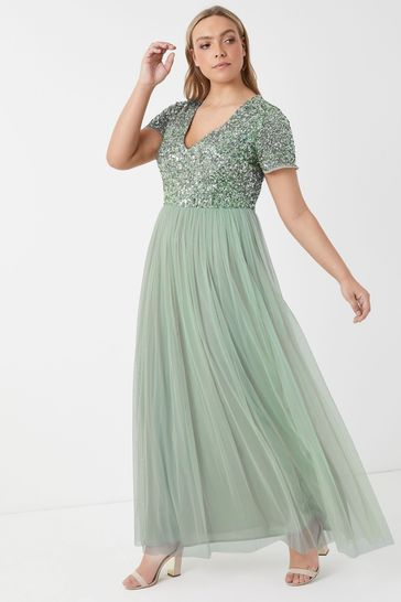 Maya Curve Sage Green V neck Short Sleeve Sequin Maxi Dress