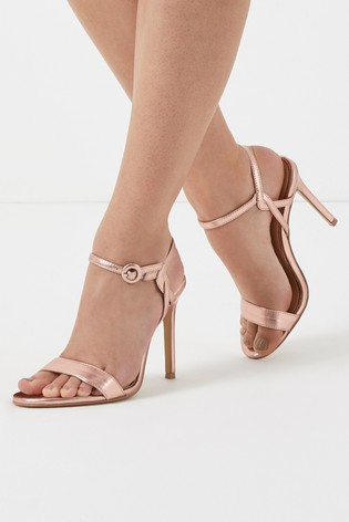 Lipsy Rose Gold Covered Buckle Barely There Heels