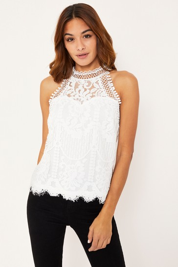 Lipsy VIP White Lace Halterneck Top
