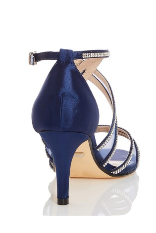 Quiz Navy Diamante Strappy Low Heel Sandals