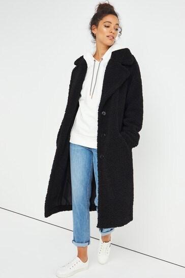 Simply Be Black Teddy Fur Coat