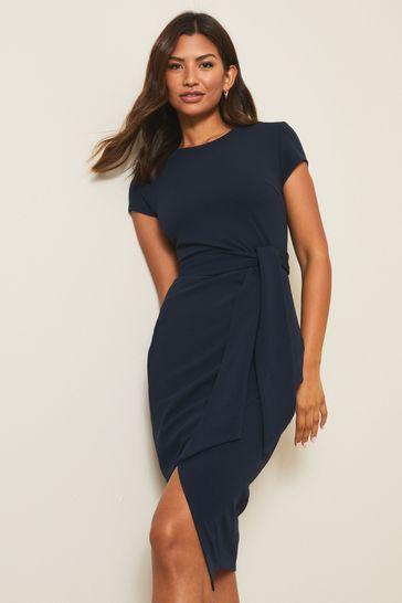 Lipsy Navy Wrap Self Tie Midi Dress
