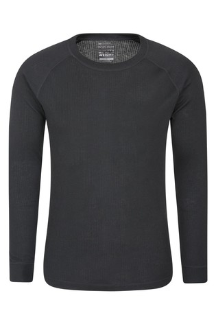Mountain Warehouse Black Talus Mens Long Sleeved Round Neck Top