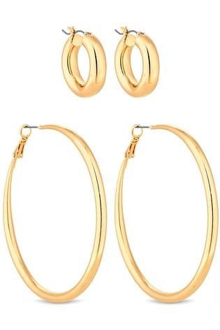 Lipsy Jewellery Gold Hoop Earrings - Pack Of 2