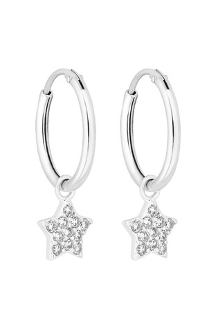 Simply Silver Sterling Silver Star Charm Hoop