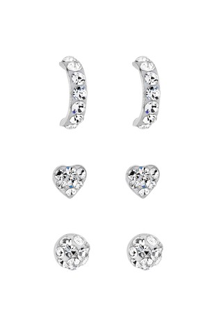 Simply Silver Sterling Silver Pave Stud 3 Pack