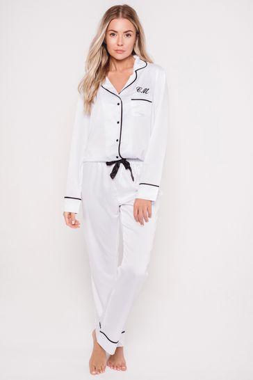 Personalised Satin Luxe Long Sleeve Pyjama Set By HA Designs