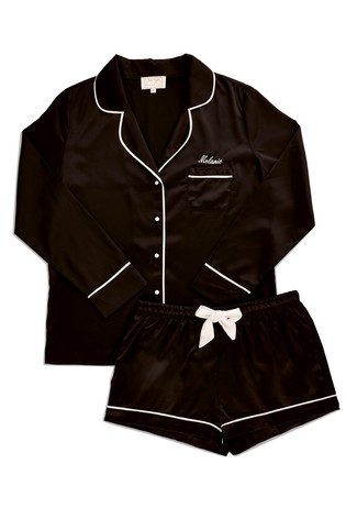Personalised HA Sleep Satin Luxe Long Sleeve Short Pyjama Set By HA Designs