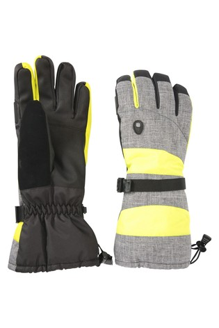 Mountain Warehouse Grey/Yellow Summit Extreme Mens Ski Gloves