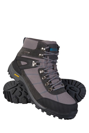 Mountain Warehouse Black and Grey Storm Mens Waterproof Isogrip Boots