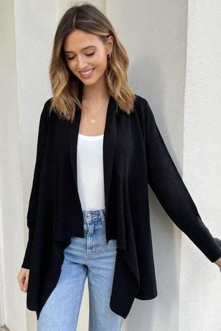 Lipsy Black Knitted Waterfall Cardigan