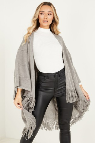 Quiz Grey Sequin Knit Cape
