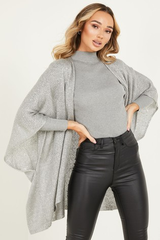 Quiz Silver Sequin Knit Cape